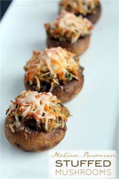 Italian Parmesan Stuffed Mushrooms    16 ounces white button mushrooms  1/2 onion, finely diced  2 garlic cloves, minced  2 tablespoons butter  2 tablespoons white wine  2 tablespoons fresh parsley, minced  1 package Kraft Italian Parmesan Fresh Take Meal Kit  2 tablespoons olive oil  salt and pepper to taste