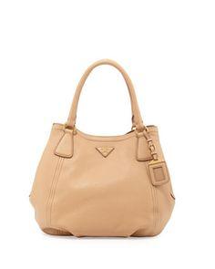 d636bec8df3a24 Daino Medium Shoulder Tote Bag, Tan (Noisette) by Prada at Neiman Marcus.