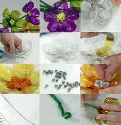 DIY Plastic Bottle Flower Ornament DIY Plastic Bottle Flower Ornament craft with kids Plastic Bottle Flowers, Reuse Plastic Bottles, Plastic Bottle Crafts, Recycled Bottles, Handmade Flowers, Diy Flowers, Paper Flowers, Simple Flowers, Colorful Flowers