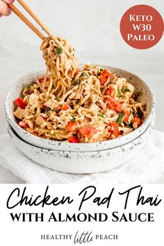 Love takeout Chicken Pad Thai, but don't love the calories? I've got you covered with my brand new KETO CHICKEN PAD THAI. Hearts of Palm noodles, chopped chicken, onions, red peppers and drenched on a homemade almond sauce and garnished with cashews, sesame seeds, fresh cilantro and red pepper flakes #betterthantakeout #ketochickenpadthai #chickenpadthai #healthycomfortfood #healthyrecipes #whole30recipes #ketorecipes #paleorecipes #dairyfree Paleo Chicken Recipes, Keto Chicken, Lunch Recipes, Paleo Recipes, Asian Recipes, Healthy Dinner Recipes, Chicken Meals, Thai Recipes, Paleo Whole 30