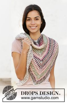 Knitted shawl with 2 colored English rib in DROPS Delight and DROPS Alpaca. Drops Design, Knitting Patterns Free, Free Knitting, Crochet Patterns, Crochet Hooks, Crochet Baby, Knit Crochet, Half Double Crochet, Single Crochet