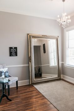 Large mirror, neutral gray, bright, chandelier, fireplace bride getting ready room (attached to the getting ready room) upstairs in the Separk Mansion. This room will photograph really well on your wedding day! Gastonia NC wedding venue, Gastonia NC wedding photographer, lovelyandlightpho... (Copyright 2015 - do not remove)