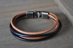 mix tan and black bracelet leather genuine real modern and minimalist style men women bronze tone hook by nattaranti on Etsy Minimalist Fashion, Minimalist Style, Black Bracelets, Leather Bracelets, Contemporary Jewellery, Bracelet Making, Real Leather, Style Men, Bronze