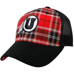 47bffec4451 Top of the World Utah Utes Red-Black Thrive Plaid One-Fit Hat Utes
