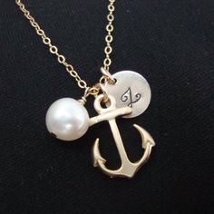 Anchor Necklace, Personalized Hand Stamped, gold filled, bridesmaids gifts, nautical theme, beach wedding, friendship lovely gift,  gold. $30.00, via Etsy.