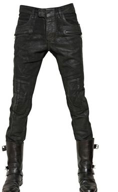 Balmain 18cm Waxed Moleskin Ankle Length Jeans in Black for Men - Lyst
