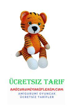 Cute Tigers, Stuffed Animal Patterns, Single Crochet, Tigger, Color Change, Free Pattern, Teddy Bear, Knitting, Toys