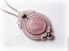 Купить Сутажный кулон - серый, розовый, розовый кварц, кварц, гематит, украшения с камнями Автор - Антонина Щеглова