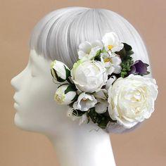 髪飾り・ヘッドドレス/ロゼットローズの髪飾り(クリームホワイト) - ウェディングヘッドドレス&花髪飾りairaka