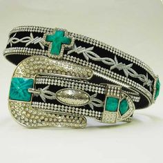 Black Embroidered Cross Concho Western Belt
