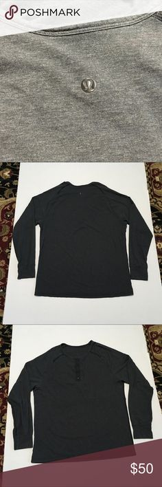 Men's Lululemon Hanley sz s-m? Very good used condition. Size tag missing  Front hidden pocket buttons Hanley style  Logo graphic on back beck Long sleeves with cuffs  Measurements included for proper fit lululemon athletica Shirts Tees - Long Sleeve