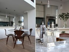 A modern kitchen will be personal and cozy with some vintage finds. Love the silver tray! So posh! :3