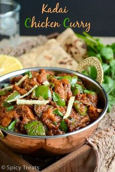 Kadai Chicken is one of the popular Non-Vegetarian menu in Indian Restaurants. This Kadai Chicken & Butter Chicken are our constant NV me. Indian Chicken Recipes, Veg Recipes, Spicy Recipes, Curry Recipes, Indian Food Recipes, Asian Recipes, Cooking Recipes, Recipies, Indian Recipes
