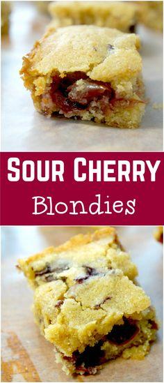 Sour Cherry Blondies. Easy dessert recipe. Delicious blondie recipe with sour cherries.