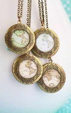 Map Locket Necklace Gift For Traveler