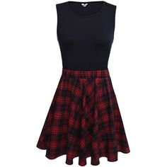 Bluetime Women's Vintage Retro Sleeveless Plaid Patchwork Fit and... ($23) ❤ liked on Polyvore featuring dresses, sleeveless dress, tartan plaid dress, retro dresses, fit flare dress and retro print dress