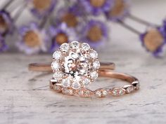 2pcs Morganite engagement ring with moissanite setSolid 14k
