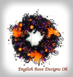 Whimsical Halloween Wreath / Halloween Decor / Black Orange and Purple Wreath / Black Wreath / Front Door Wreath / English Rose Designs Oh