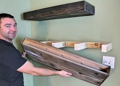DIY Holz Schwimmendes Regal - Javier Gutierrez - - decoration house games,decoration house,decoration house near me Wooden Floating Shelves, How To Make Floating Shelves, Floating Shelves Bathroom, Rustic Bathroom Shelves, Rustic Floating Shelves, Building Floating Shelves, Floating Shelves By Fireplace, Floating Media Shelf, Making Shelves