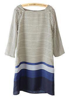 Multicolor Striped Square Neck Seven's Sleeve Chiffon Dress