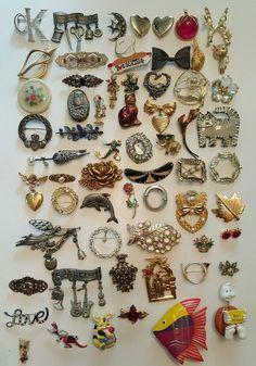 62 Vintage & Modern Brooch lot Coro Trifari Sarah Cov Mamselle Rhinestone Avon