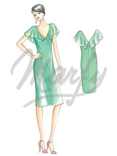 Fabric required about mt 1 30 wide 1 40 - Ruffle mt 0 60 wide 1 40 - Bolero mt 0 50 wide 1 40 Available in sizes 42 46 50 Negligee dress with optional ruffle collar over shoulders or bolero- effect panels To be made in voile or crêpe