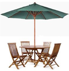 TEAK Outdoor Dining Chairs/Table Sets and Patio Furniture Round Table Set - green by Individual Patio. $999.00. 1-7/8 inch Umbrella Hole Includes Brass Grommet and Cap. 48w x 48d x 29h. Solid Teak. Teak Oiled Finish. 6PC ROUND /w GREEN CANOPY. This patio set is constructed of solid Teak using mortise and tennon joinery. The table is offered in a 48 inch round or octagon shape and has 1-7/8 inch umbrella hole with lower pole stabilizer to accept our Teak Market Umbrella or...