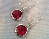 Faceted Ruby Glass Stone Dangle Earrings with 925 Sterling Silver Ear Hooks, Gift Ideas, Christmas Gift, Valentines Gift, Mother's Day Gift
