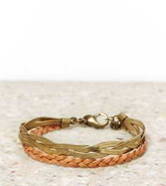 American Eagle- Braided Brass and Leather Bracelet