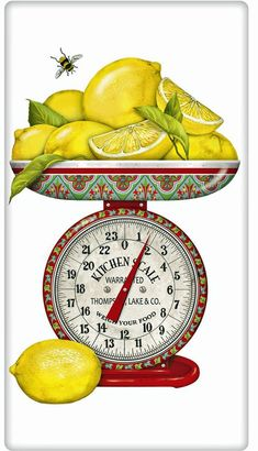 Lemons make every cook happy! We just love this cheery lemon flour sack towel by Mary Lake Thompson. Discover our selection of dish towels for every decor. Dish Towels, Tea Towels, Lemon Kitchen, Kitchen Art, Kitchen Decor, Kitchen Layout, Kitchen Ideas, Food Illustrations, Fruit Illustration