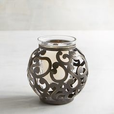 Round Metal Scroll Votive Candle Holder Brown