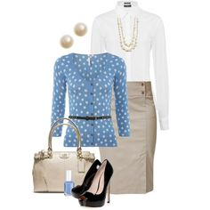 Blue & Taupe Work Outfit