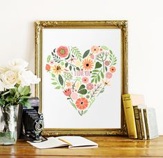 Find More Painting & Calligraphy Information about Floral Heart Canvas Art Print Poster, Wall Pictures for Home Decoration, Frame not include FP063,High Quality pictures of dry flies,China picture frame wall decal Suppliers, Cheap pictures of food displays from 900D on Aliexpress.com
