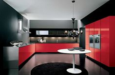 modern kitchen in black and red