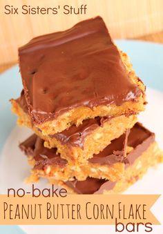 No bake peanut butter corn flake bars.