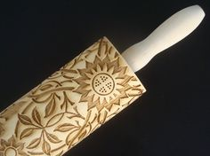 Wooden Embossing Rolling Pin  Floral Pattern by BezalelArtShop