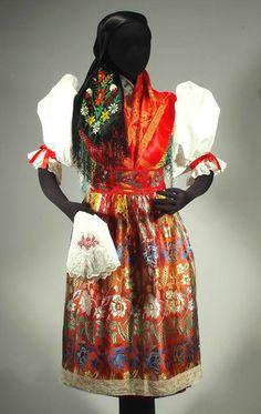 RARE Czech Folk Costume kroj Bohemian ethnic embroidered shawl vest skirt apron