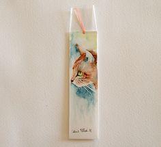 Original watercolor bookmark of a  cat