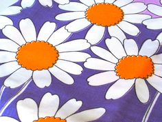 "Excited to share the latest addition to my #etsy shop: Vintage Mod - Orange & Purple Daisy - Border Fabric - 66""L x 44""W - 1960's - material - textile - sewing supply - Retro http://etsy.me/2CnsJqr #supplies #purple #quilting #cotton #orange #yardage #flowerpower #boho"