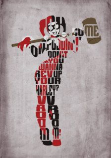 Harley Quinn Batman Poster Minimalist by GeekSpeakPrints on Etsy Batman Poster, Superhero Poster, Harley Quinn Et Le Joker, Harley Quinn Drawing, Comic Book Artists, Comic Books Art, Hq Dc, The Villain, Typography Poster