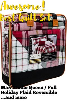 (This is an affiliate pin) Max Studio Queen / Full Holiday Plaid Reversible Cotton Quilt Set Red Green White I Am A Queen, Quilt Sets, Red Green, Plaid, Quilts, Studio, Holiday, Cotton, Gingham