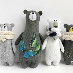 Stuffed bear in knitted scarf felt bear felted miniature animals felt animals teddy bear toy miniature bear woodland plushie Softies, Plushies, Felt Crafts, Fabric Crafts, Diy Crafts, Couture Main, Bear Felt, Pet Organization, Teddy Bear Toys