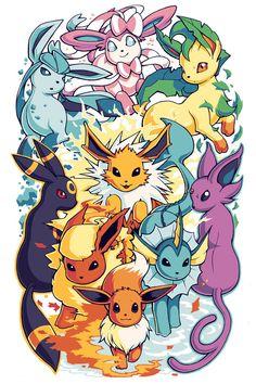 An inch print of the Eeveelutions from Pokemon! Art by myself, Pokemon Poster, 3d Pokemon, Pokemon Eevee Evolutions, Pikachu Art, Pokemon Tattoo, Pokemon Fan Art, All Eeveelutions, Arte Do Kawaii, Anime Kawaii