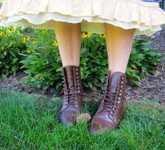 Vintage Leather Granny Boots Lace Up Brown Oxford Roper Boots 5.5