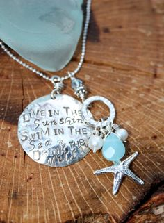 Live in the Sunshine. Swim in the Sea. Drink the Wild Air. Sterling Silver Charmed Necklace on Etsy, $80.00