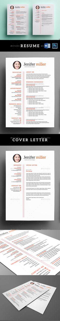 Resume  Cover Letter Template PSD, MS Word Portafolio Pinterest