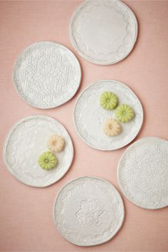 BHLDN Dream in Lace Plates (6) / Handmade in Italy with lace patterns pressed into them
