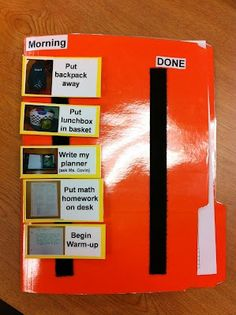GREAT idea for students with Autism or just for those who struggle to remember classroom routines!