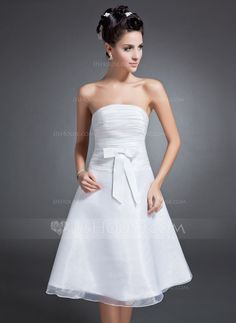 Forme Princesse Sans bretelle Mi-longues Organza Robe de soirée étudiante avec Plissé À ruban(s) (022015089) - JJsHouse