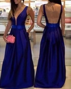 A-line prom dress, formal prom dress, royal blue prom gown, cheap prom dress, evening gown 2017, BD145